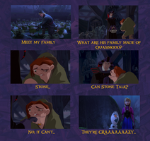 Frozen/ Hunchback of Notre Dame - Stone Family by Trinityinyang