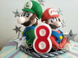 Super Mario Bros. cake - Mario and Luigi close-up by Efreet-in-the-Oven