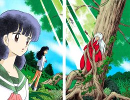 Kagome sees Inuyasha by FluffyNabs