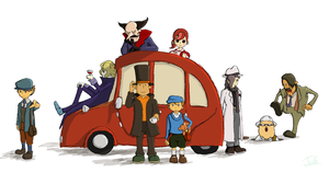 Professor Layton Cast Picture by JelloApocalypse