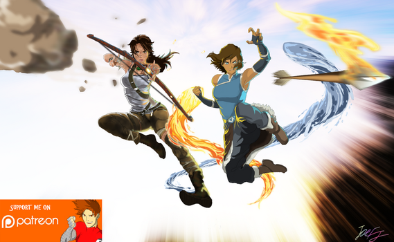 Worlds Collide: Korra X Croft by joeFJ