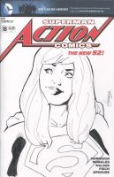 Funny Face Supergirl Action Comics sketch cover by TeamAmazing