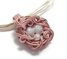 A Nest Adorned Necklace -Pink by sojourncuriosities