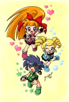 Blossom Bubbles and Buttercup by chibi-jen-hen
