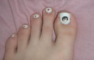Hetalia Japan toe nail art by Bakeneko14