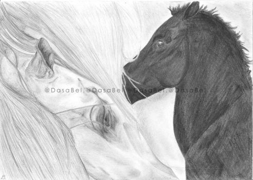 Mare and foal portrait by Bewlyer