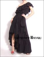 Black Ruffle Maxi Dress Gown by yystudio