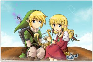 Link and Zelda by SandraGH