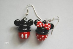 Mickey + Minnie Mouse Earrings by puddingfishcakes