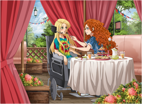 [Romantic Date:Merida and Rapunzel] PP Commission by bakawomans