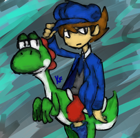 Clive on Yoshi by Kirafrog