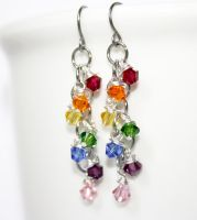 Cascading Rainbow Crystal Chainmaille Earrings by VioletsInEden