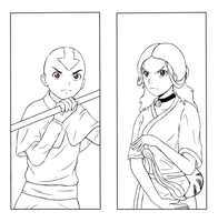 Katara and Aang Bookmark by Jit-chan