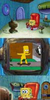 SpongeBob watching Bart Skateboarding Naked by SuperMarcosLucky96