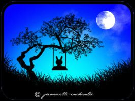 Rabbit plush on a swing... by grenouille-enchantee