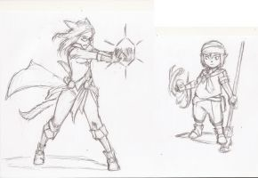 Rika and Felix character sketches by Jjnnyrr