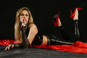 Black latex-Red High Heels by CrowsReign-Stock