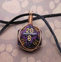 Purple Copper d20 Pendant by lavadragon