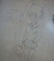 Miku atacked by Nyancat - school desk drawing by kixi360