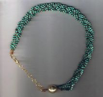 Turquoise and Gold Braided Choker by MyWorld1