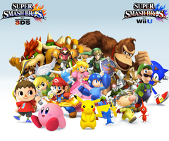 Super Smash Bros. Wii U/3DS Group WallpaperV2 by CrossoverGamer