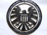 Agents of Shield logo, white and black sci-fi gift by FireVerseCeramics