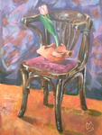 Still life-NEW 8-A chair, an amphora and a flower by UsayFudo