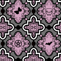 Goth Symbols Fabric in Pink by excheesetorpedo