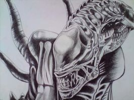 alien drawing close up by DREAMandDIFFER