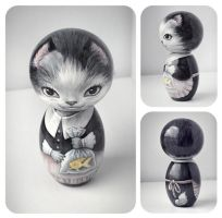 Kitty kokeshi by ToughLittleUrchin