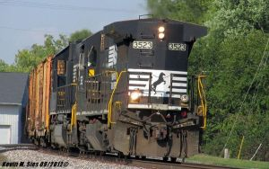 NS 3523 leads NS 946 rail train long hood forward by EternalFlame1891