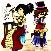 Steampunk girls by Ana-The-Unknown