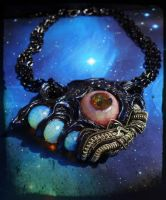 Some alien shit wire wrapped polymer clay necklace by dogzillalives