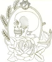 Skull tattoo design uncolored by wmarinics18