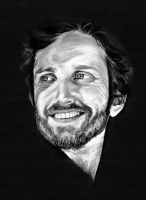 Rob Benedict in white charcoal by Threnody2