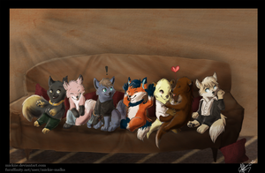 Crowded Couch by Mickiie