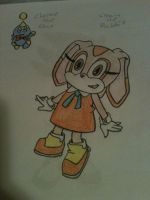 Cream the Rabbit and Cheese the Chao, Hand Drawn by blueangelrose97