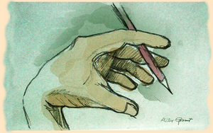 Hand and pencil by altergromit