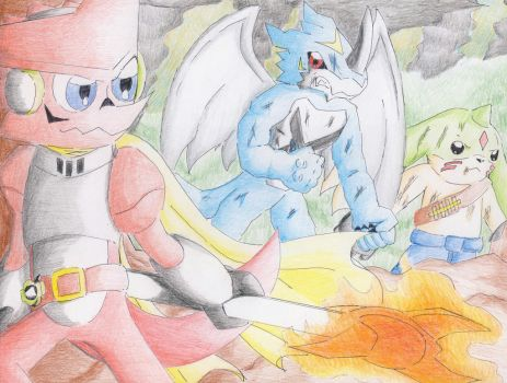 Shoutmon vs. ExVeemon and Gargomon by Dogwhitesector