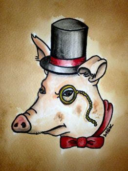 Traditional tattoo style 'Gentleman Pig' by Psychoead