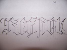 Regret Nothing Ambigram by lost-kidd