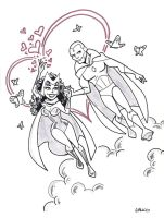 Scarlet Witch and Vision by BillWalko