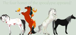 four horses of the apocalypse by Okami-Haru