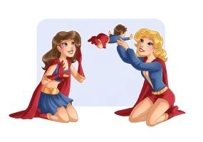 Supergirl Family 6 - First Baby Flying Steps by kclcmdr