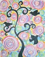 Oil Pastel Tree and Birds by ToniTiger415