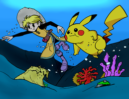 Yellow and Pikachu Under the Sea -Color Commission by The-Sakura-Samurai