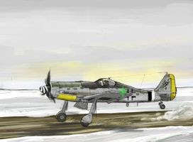 FW190D-9 Taking off by Bidass
