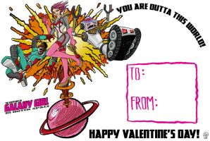 Galaxy Girl Valentine's Day Card by Eastforth