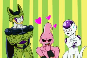 Cell,Freezer And Majin Buu Kid by RoseBereArtist