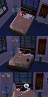 Starscream slept on Meg's bed by dionski